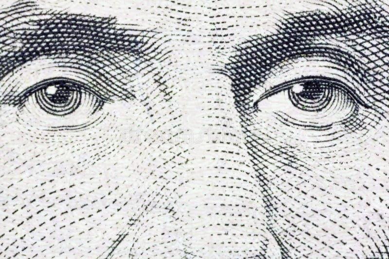 Billet de cinq dollars extrême des USA d'instruction-macro des yeux de Lincoln photographie stock libre de droits