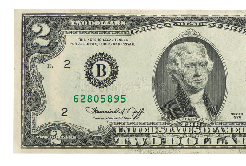 Billet de deux dollars photo libre de droits