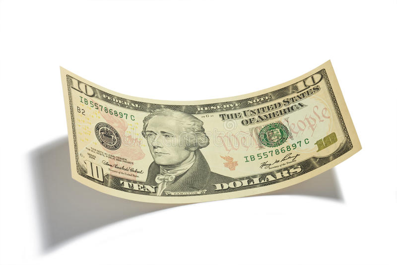 Billet De Dix Dollars D Isolement Photo stock