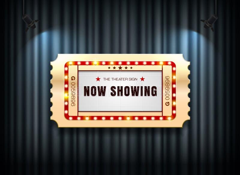 Billet de signe de théâtre sur le rideau avec le fond de projecteur illustration libre de droits