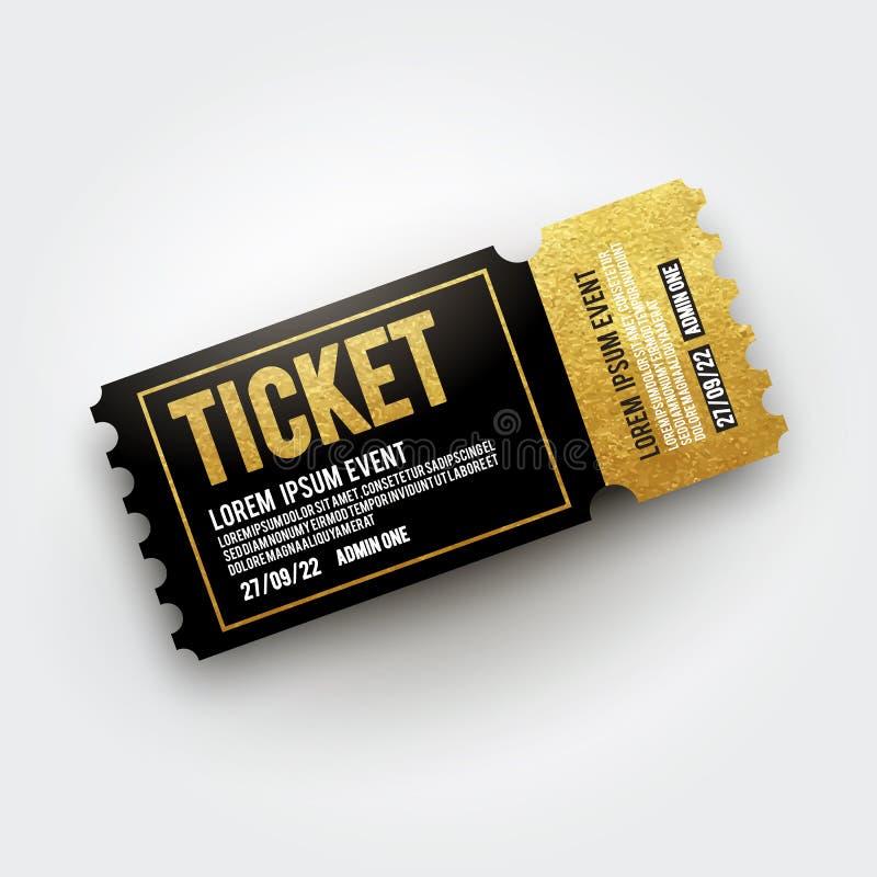 Billet de vecteur pour le cinéma, théâtre, concert, film, représentation, partie, festival d'événement Templat réaliste de billet illustration stock