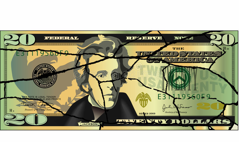 Billet de vingt dollars criqué illustration stock