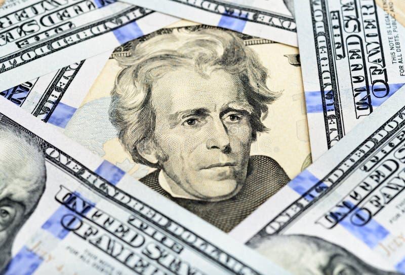 Billet de vingt dollars - le Président Jackson photo stock