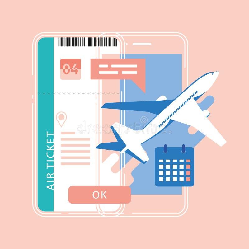 Billet en ligne de réservation Achetez le billet en ligne Voyageant sur l'avion, APP mobile, service en ligne illustration stock