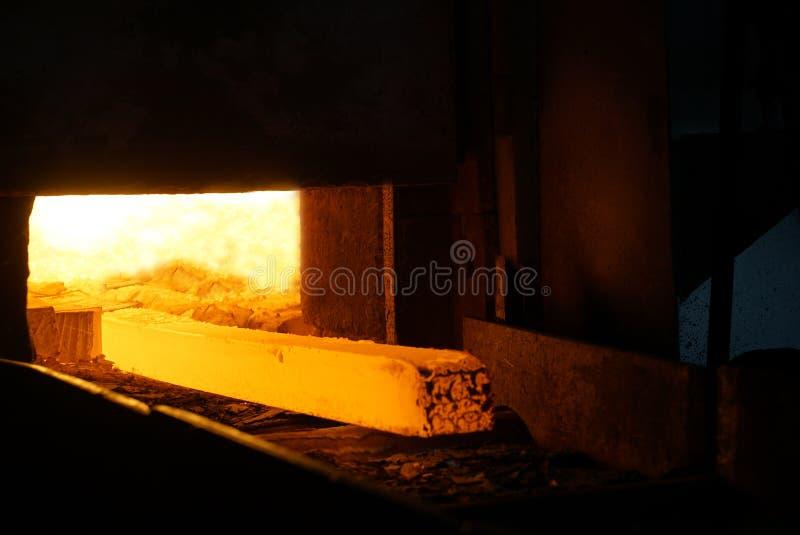 Billet in Furnace stock images