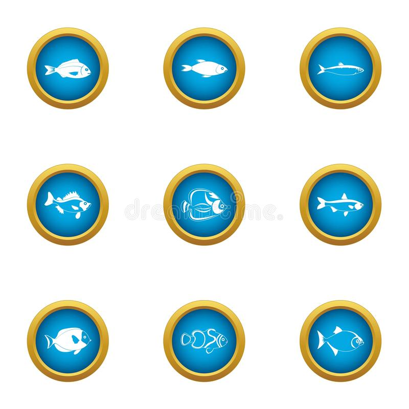 Billet icons set, flat style stock illustration