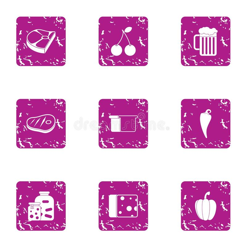 Billet icons set, grunge style royalty free illustration