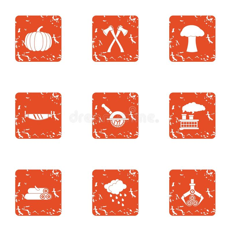 Billet icons set, grunge style vector illustration