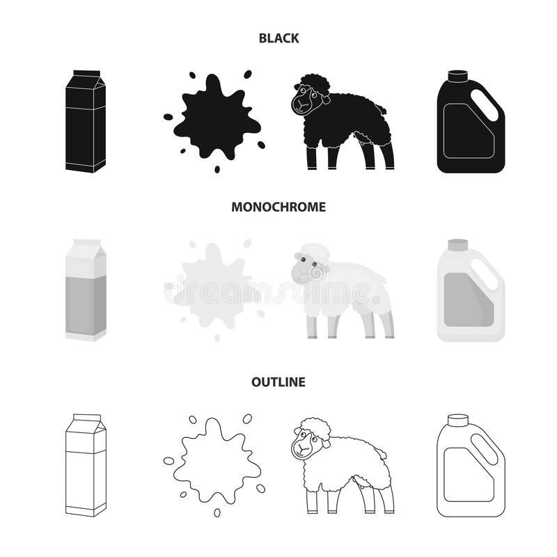Billet pack, sheep.blue, canister.Moloko set collection icons in black,monochrome,outline style vector symbol stock. Illustration vector illustration