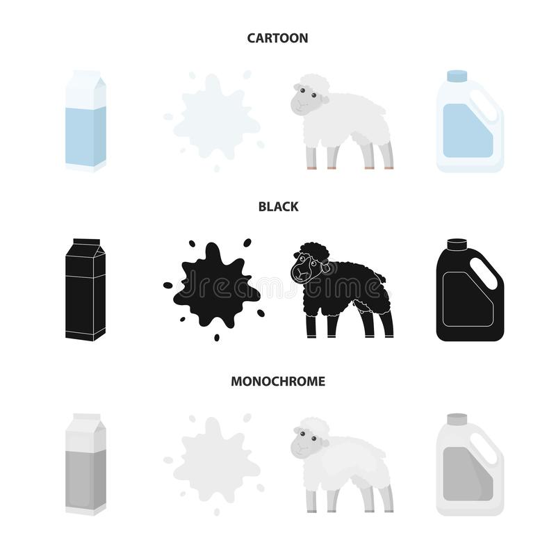 Billet pack, sheep.blue, canister.Moloko set collection icons in cartoon,black,monochrome style vector symbol stock. Illustration royalty free illustration