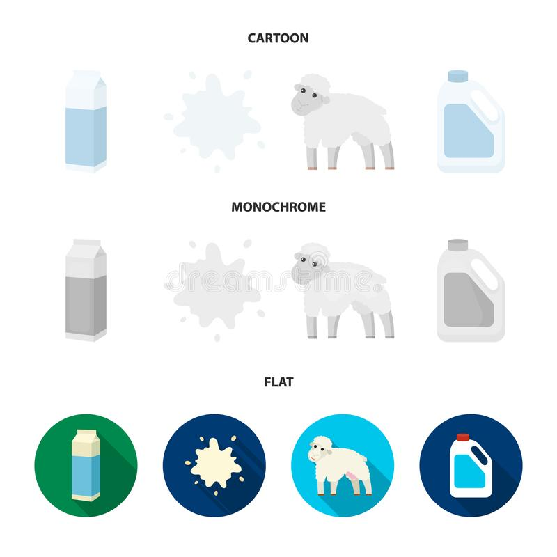 Billet pack, sheep.blue, canister.Moloko set collection icons in cartoon,flat,monochrome style vector symbol stock. Illustration royalty free illustration
