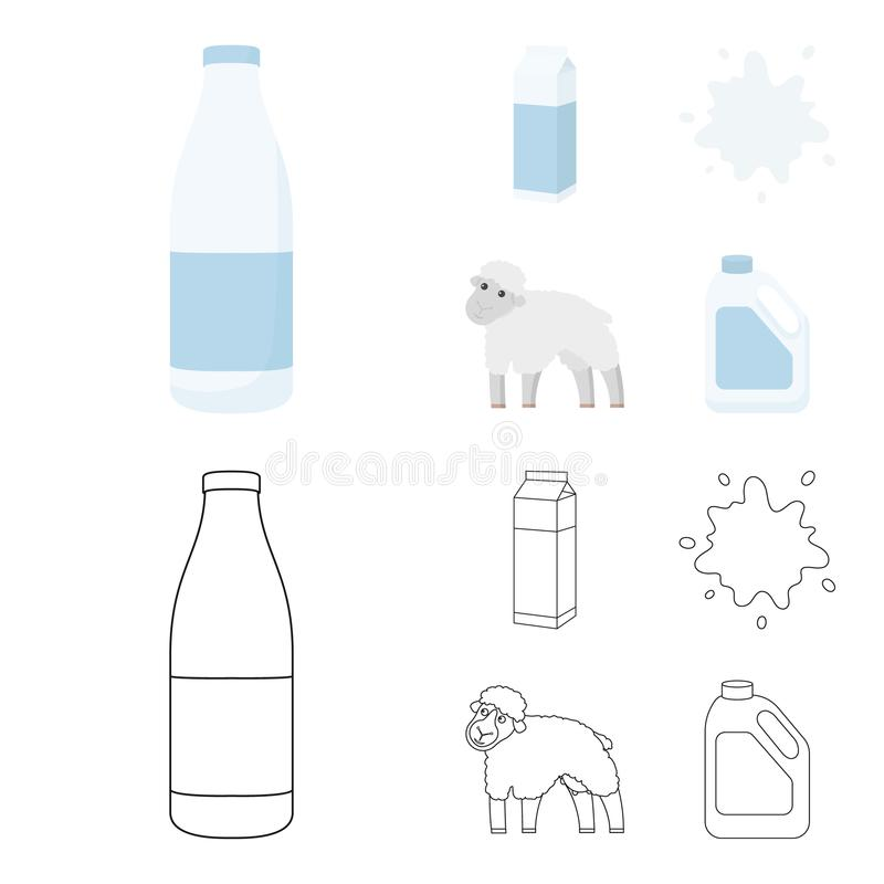 Billet pack, sheep.blue, canister.Moloko set collection icons in cartoon,outline style vector symbol stock illustration.  stock illustration