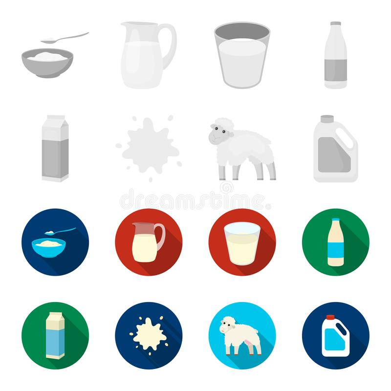 Billet pack, sheep.blue, canister.Moloko set collection icons in monochrome,flat style vector symbol stock illustration vector illustration