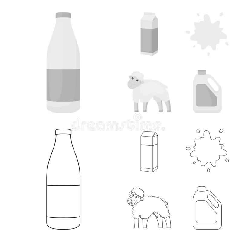 Billet pack, sheep.blue, canister.Moloko set collection icons in outline,monochrome style vector symbol stock. Illustration vector illustration
