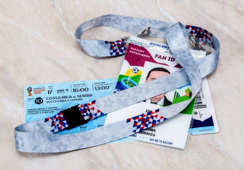 Billet pour la coupe du monde 2018 de la FIFA en Russie photo libre de droits