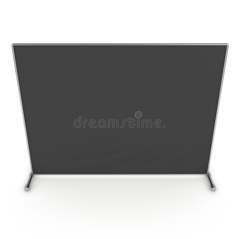 Billet press wall with black screen banner. Billet press wall with black screen chroma key banner. Mobile trade show booth white and blank. 3d render isolated vector illustration