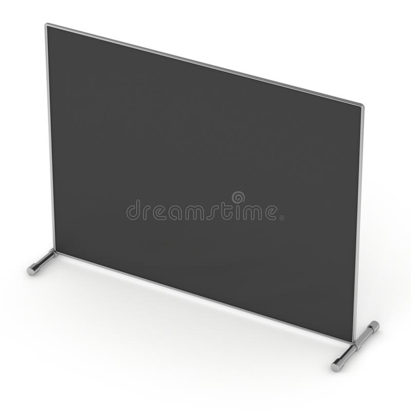 Billet press wall with black screen banner. Billet press wall with black screen chroma key banner. Mobile trade show booth white and blank. 3d render isolated royalty free illustration