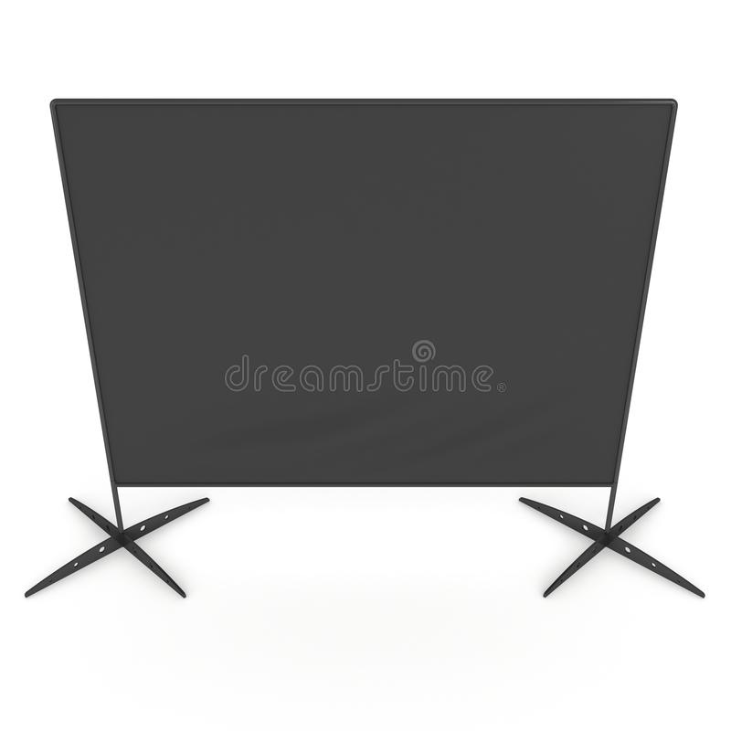 Billet press wall with black screen banner. Billet press wall with black screen chroma key banner. Mobile trade show booth white and blank. 3d render isolated stock illustration