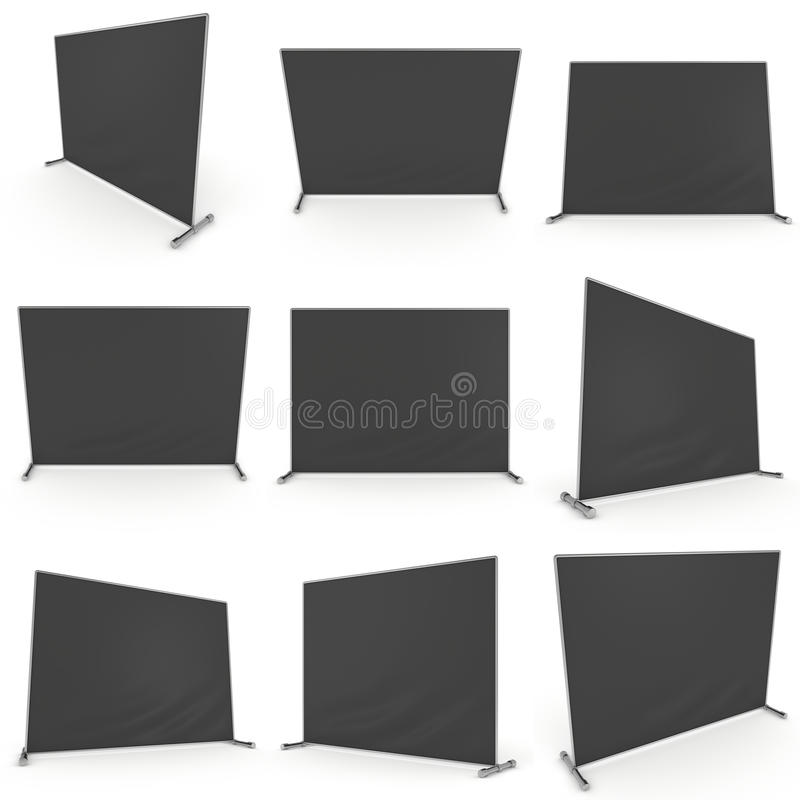 Billet press wall with black screen banner. Billet press wall with black screen chroma key banner set. Mobile trade show booth white and blank. 3d render royalty free illustration