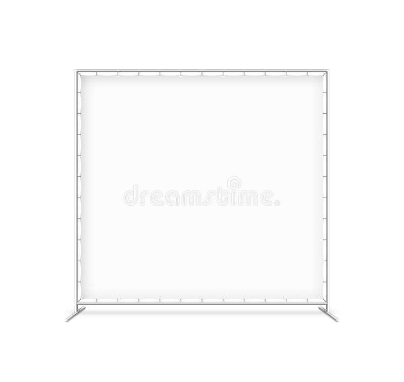 Billet press wall with blank banner. Mobile trade show booth illustration royalty free illustration