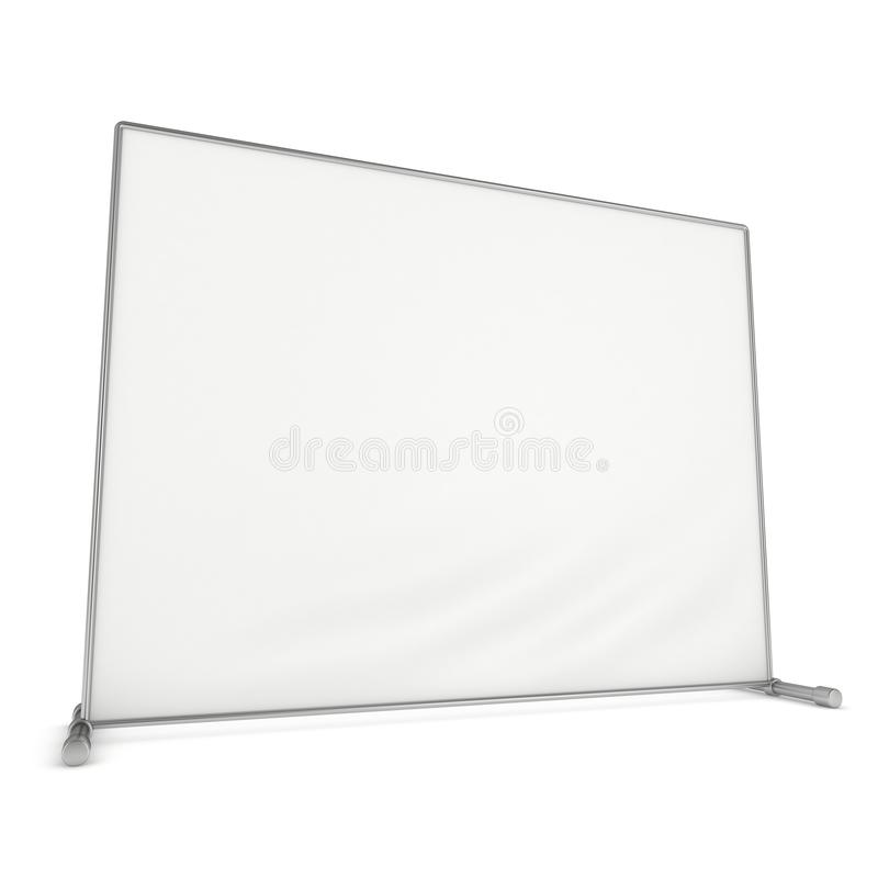 Billet press wall with blank banner. Mobile trade show booth white and blank. 3d render isolated on white background. High Resolution Template for your design royalty free illustration
