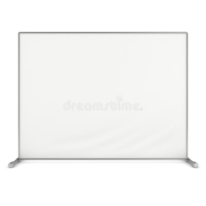 Billet press wall with blank banner. Mobile trade show booth white and blank. 3d render isolated on white background. High Resolution Template for your design vector illustration