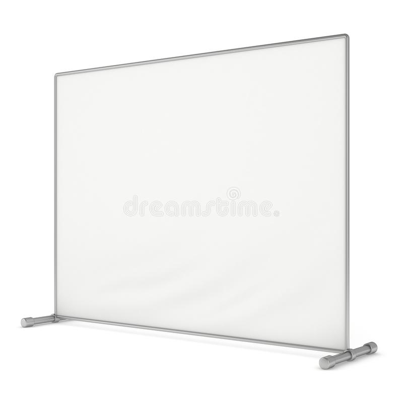 Billet press wall with blank banner. Mobile trade show booth white and blank. 3d render isolated on white background. High Resolution Template for your design stock illustration