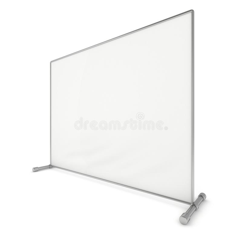 Billet press wall with blank banner. Mobile trade show booth white and blank. 3d render on white background. High Resolution Template for your design stock illustration