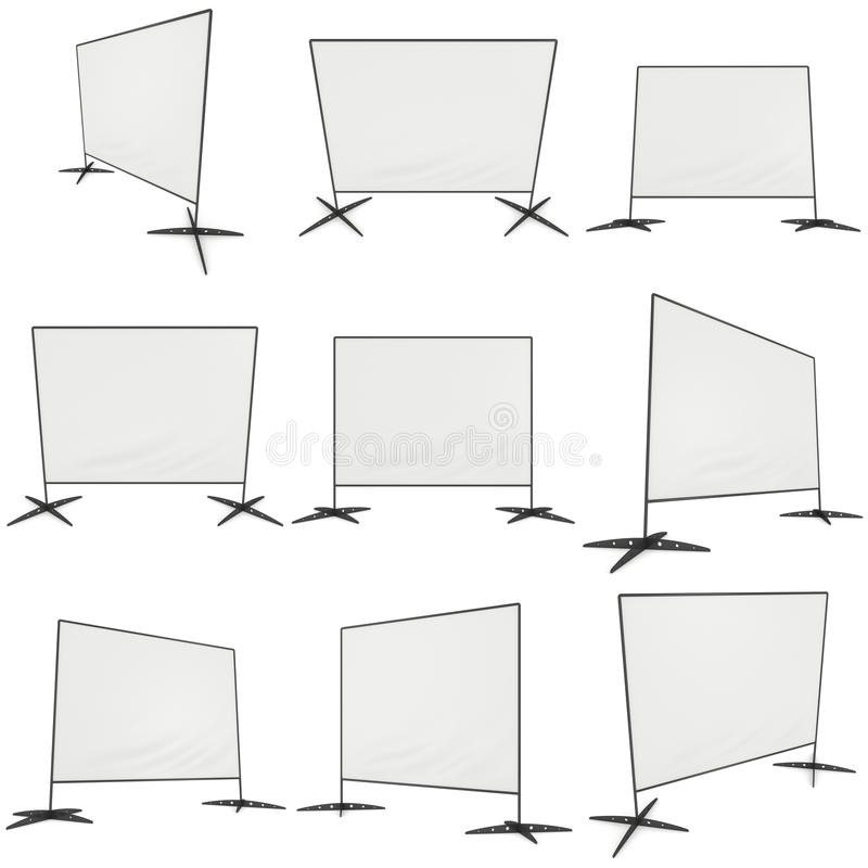 Billet press wall with blank banner. Billet press wall with blank banner set. Mobile trade show booth white and blank. 3d render isolated on white background stock illustration
