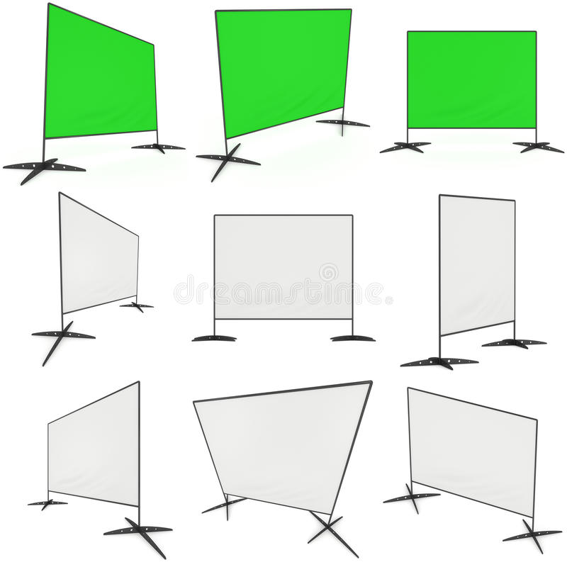 Billet press wall with blank banner. Billet press wall with blank banner set. Mobile trade show booth white and blank. 3d render isolated on white background royalty free illustration