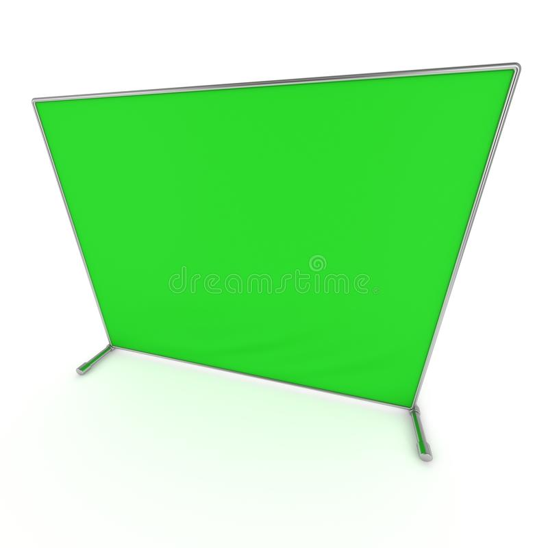 Billet press wall with green screen banner. Billet press wall with green screen chroma key banner. Mobile trade show booth white and blank. 3d render isolated vector illustration