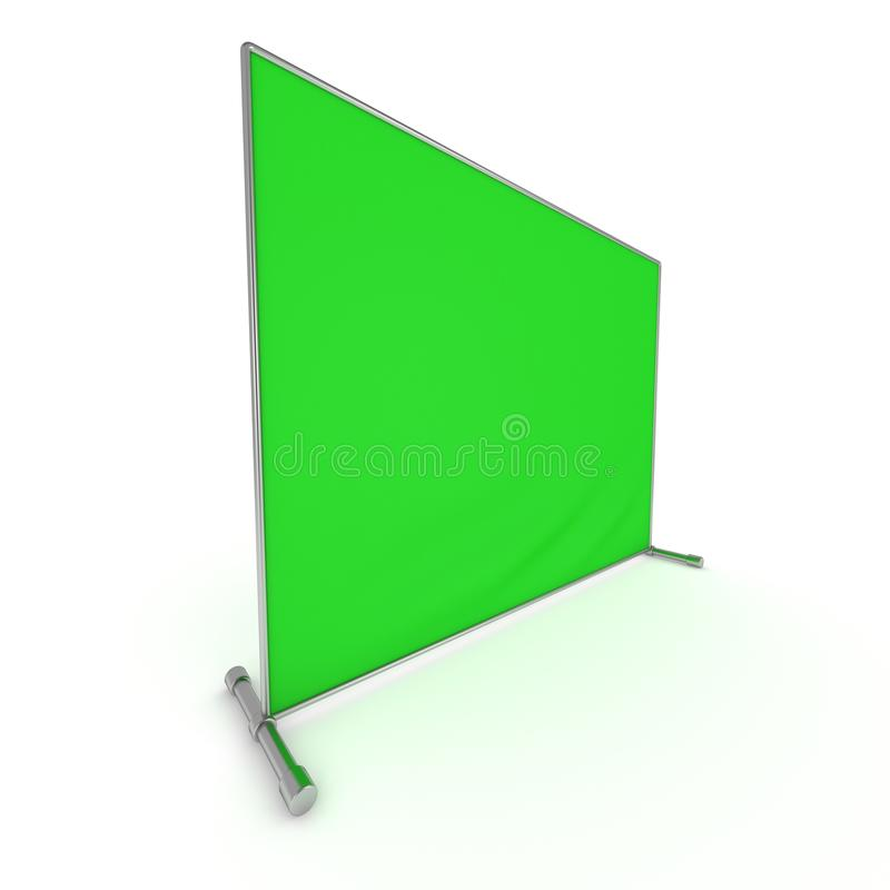 Billet press wall with green screen banner. Billet press wall with green screen chroma key banner. Mobile trade show booth white and blank. 3d render isolated stock illustration