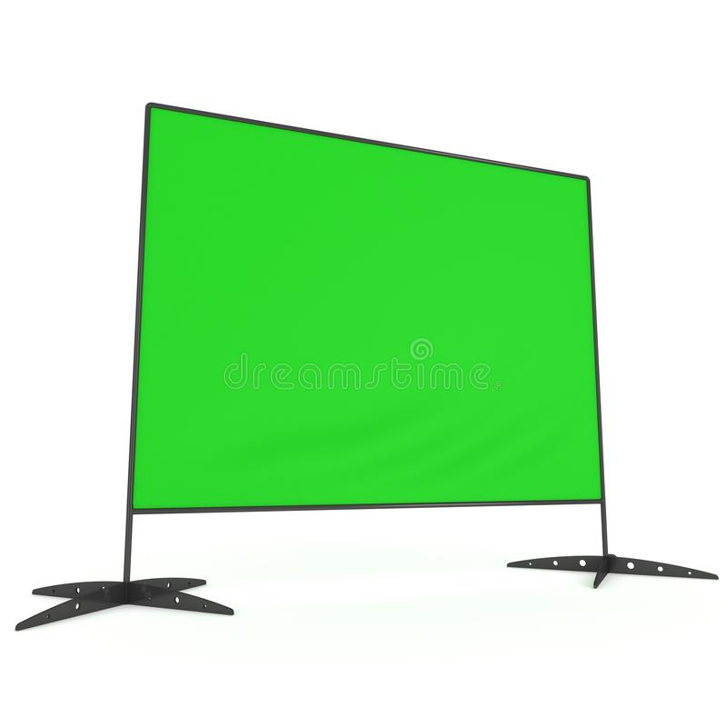 Billet press wall with green screen banner. Billet press wall with green screen chroma key banner. Mobile trade show booth white and blank. 3d render isolated royalty free illustration