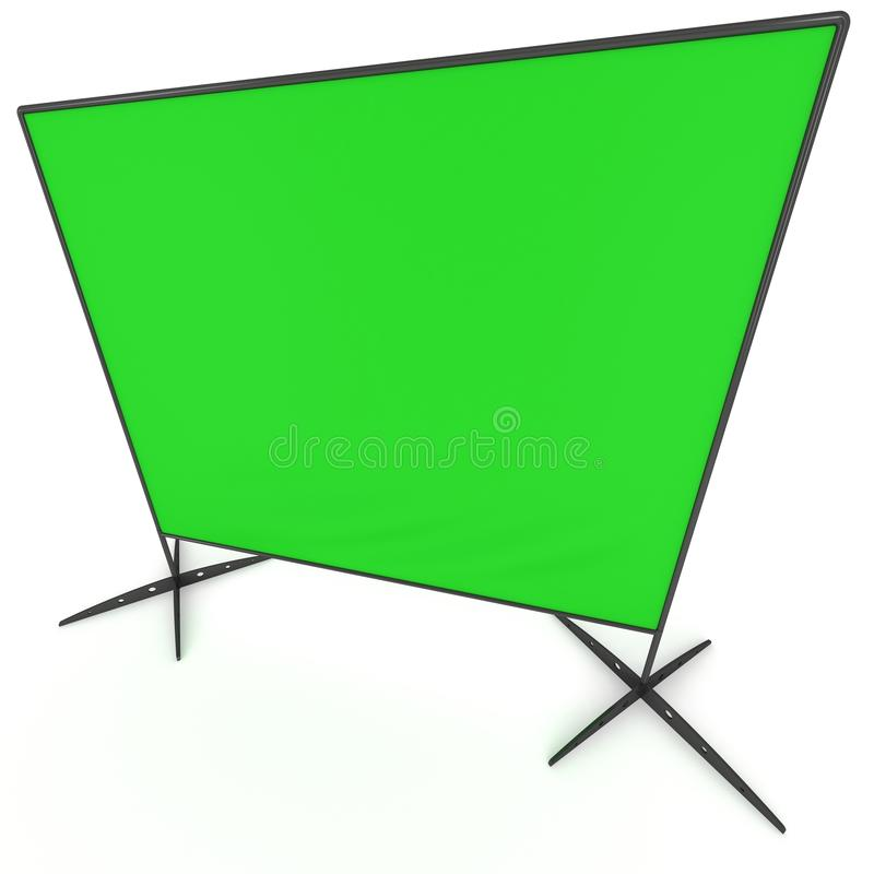 Billet press wall with green screen banner. Billet press wall with green screen chroma key banner. Mobile trade show booth white and blank. 3d render on white stock illustration