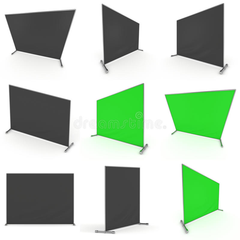 Billet press wall with green screen banner. Billet press wall with green screen chroma key banner set. Mobile trade show booth white and blank. 3d render vector illustration