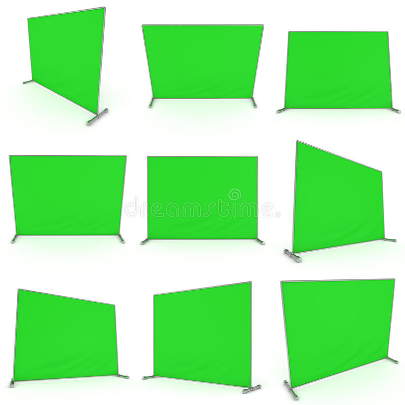 Billet press wall with green screen banner. Billet press wall with green screen chroma key banner set. Mobile trade show booth white and blank. 3d render royalty free illustration
