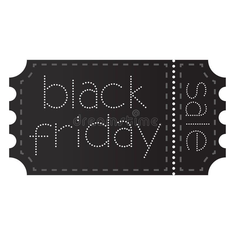 Billet vendredi noir avec la ligne de coupe photo stock