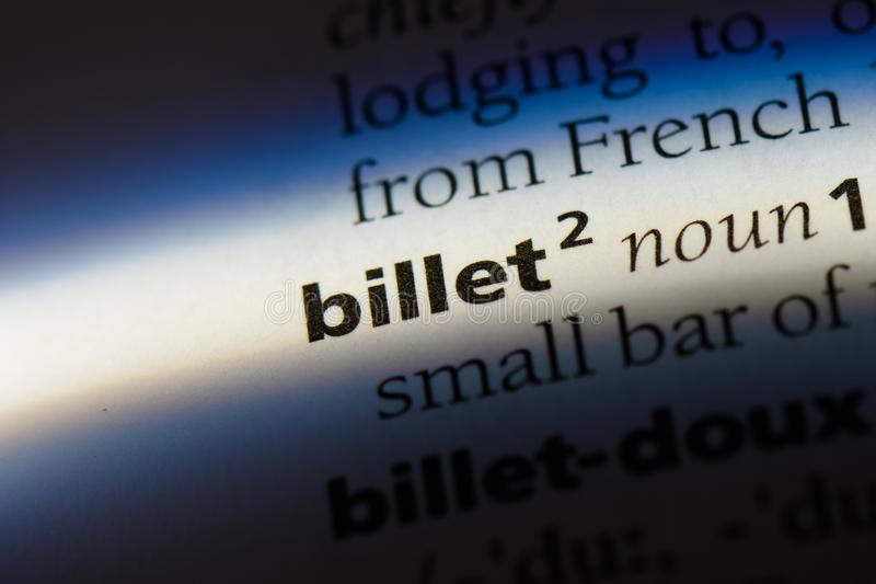 Billet. Word in a dictionary.  concept royalty free stock photography