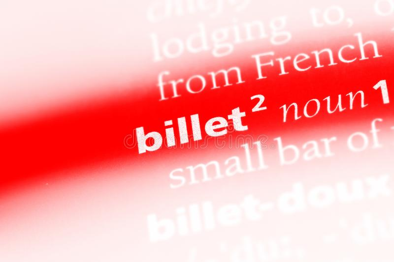 Billet. Word in a dictionary.  concept stock photography