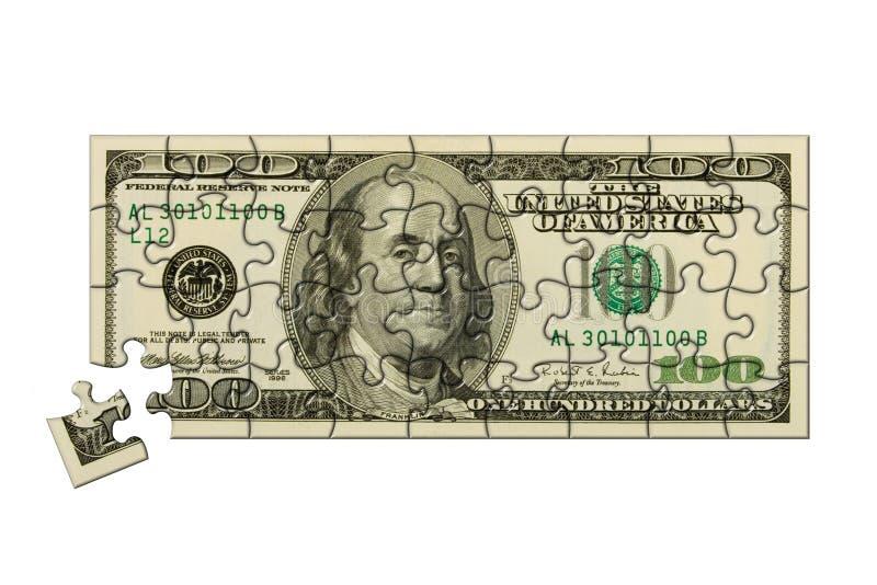 Billete de banco 100 dólares de rompecabezas imagen de archivo