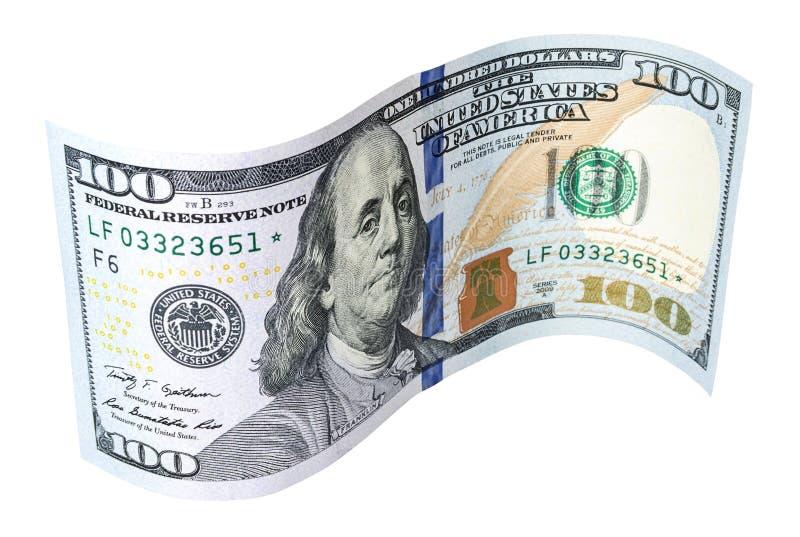 Billete de banco curvado de cientos dólares en el fondo blanco foto de archivo libre de regalías