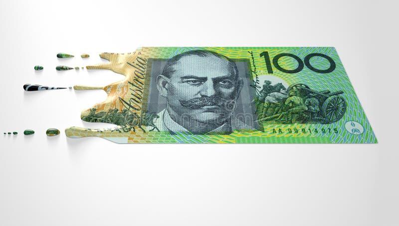 Billete de banco de fusión del goteo del dólar australiano fotos de archivo libres de regalías