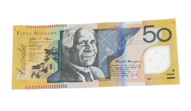 Billete de banco del dólar australiano 50 imagen de archivo libre de regalías