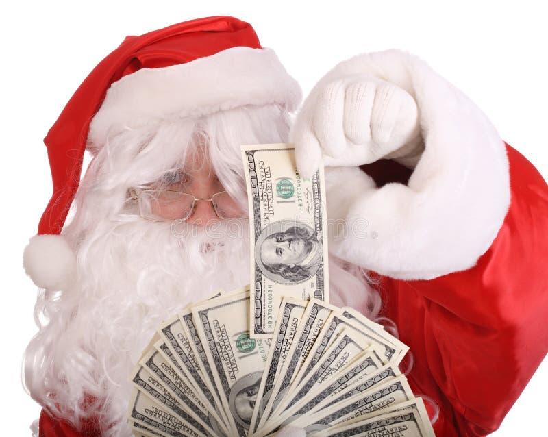 Billete de banco del dólar de la explotación agrícola de Papá Noel. fotografía de archivo libre de regalías