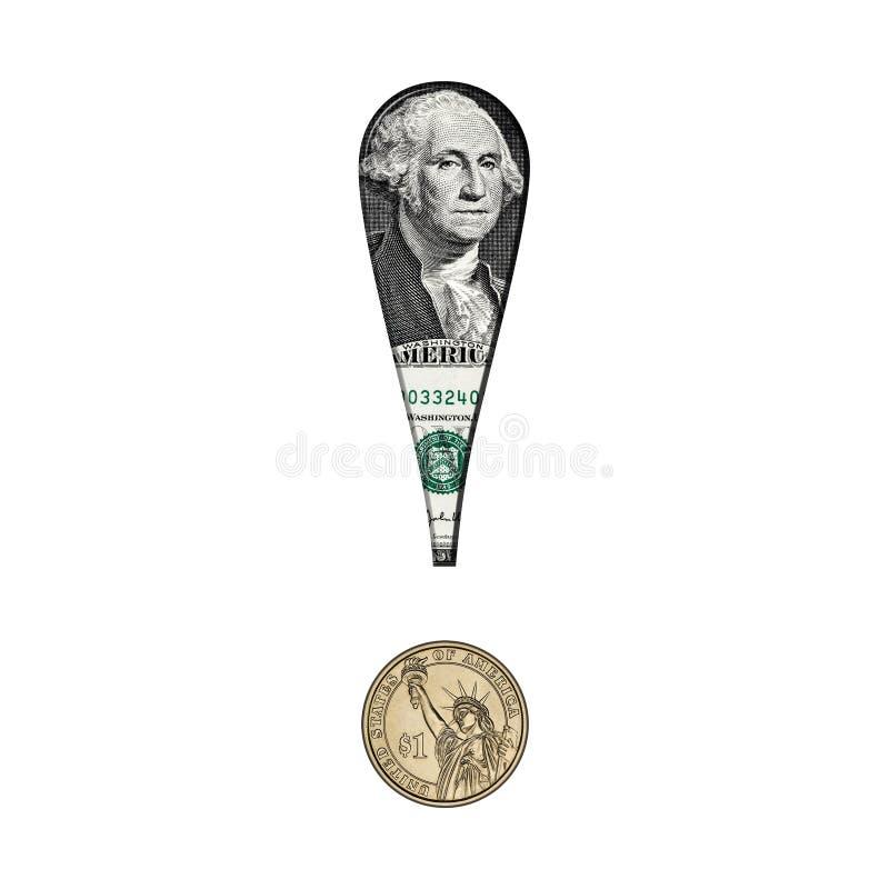 Billete de banco del dólar en marca de exclamación fotografía de archivo libre de regalías