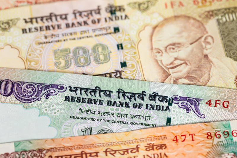 Billete de banco del dinero de la rupia de la India fotografía de archivo libre de regalías