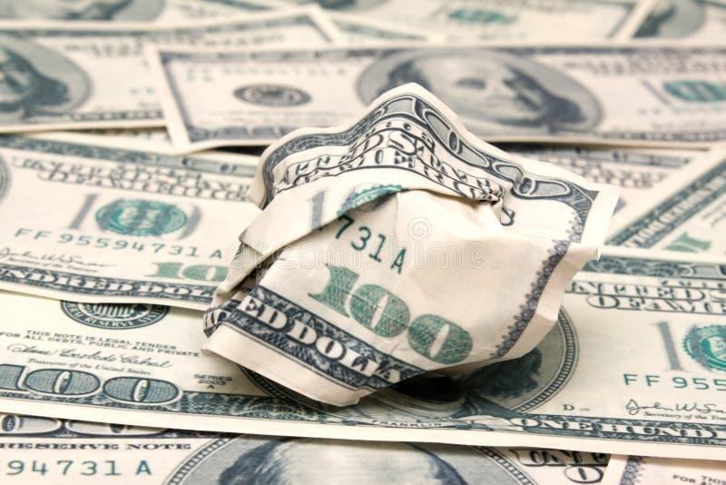 Billete de banco Rumpled del dólar fotografía de archivo libre de regalías
