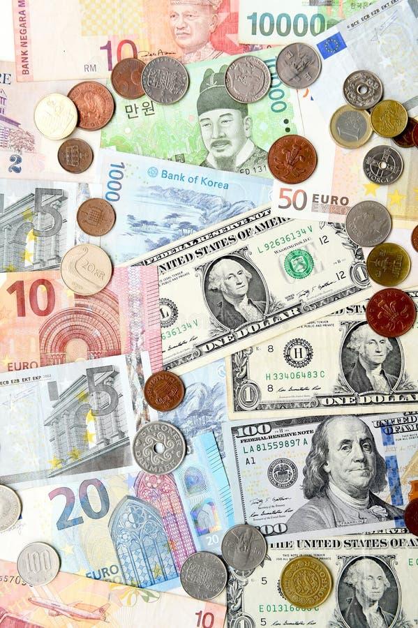 Billete de banco y moneda foto de archivo