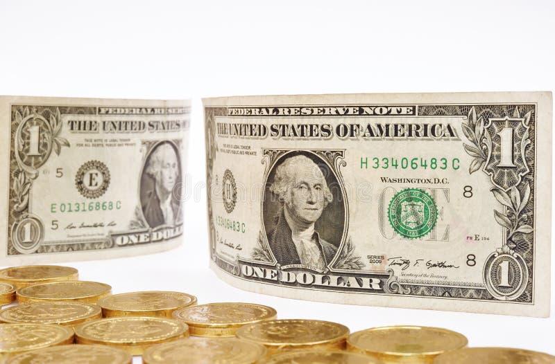 Billete de banco y moneda fotografía de archivo libre de regalías