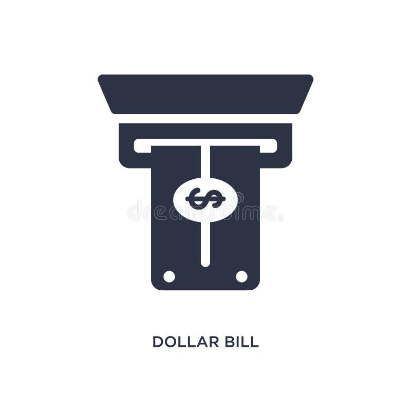 billete de dólar del icono del cajero automático en el fondo blanco Ejemplo simple del elemento del concepto del terminal de aero ilustración del vector